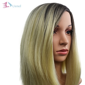 Uenel High Temperature Fiber Medium Gold Straight Ombre Synthetic Wigs For Women Cosplay Heat-resistant 13Inch Free Shipping