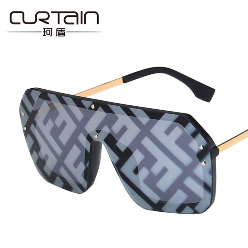 NEW Oversized FF Sunglasses 2021 Women Luxury Brand Fashion Flat Top One Piece Sun Glasses Men Gafas
