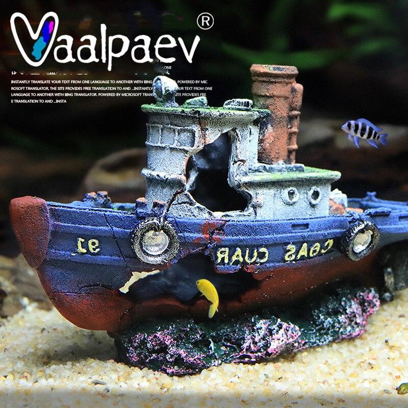 غرق القراصنة سفينة قارب باخرة خزان حوض أسماك المناظر الطبيعية مكتب منزلي الديكور الراتنج اللعب Crafts بها بنفسك الحرف الكبار الملحقات