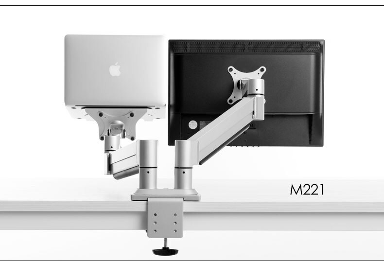 Montaje de Monitor de sujeción de escritorio de movimiento completo de aleación de aluminio M221 + soporte de portátil carga de doble brazo 1-8kg cada cabeza