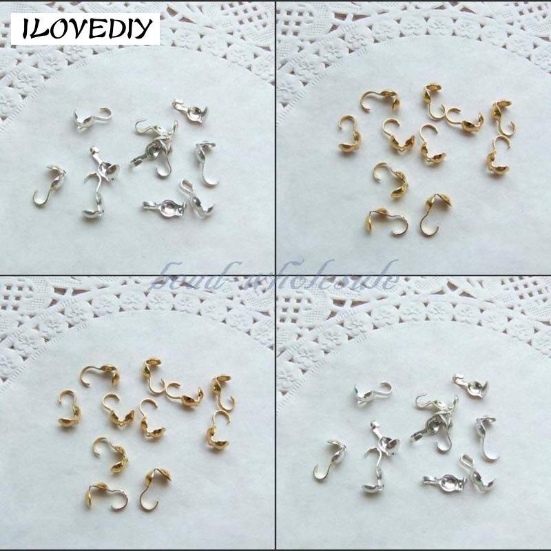 Atacado 100/300 pces/lotssilver ouro chapeado metal crimp tampas de extremidade contas para fazer jóias diy