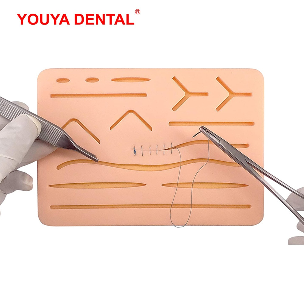 Фото - Reusable Surgical Suture Kit Pad Silicone Fake Skin Suture Medical Practice Traumatic Simulation Wounds  Training Teaching Model silicone artificial human skin oral teeth gum suture training kit common types of dental wounds dentist practice and training