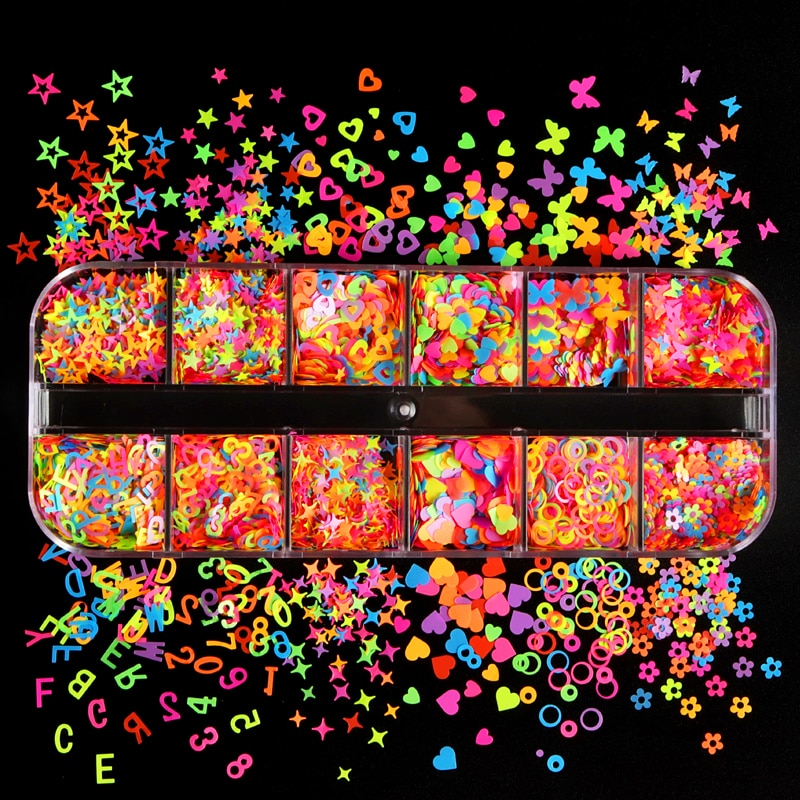 AliExpress - Fluorescent Nail Sequins Butterfly Heart Flower Various Shapes Colourful Nail Art Glitter Flakes Polish Manicure Nail Decoration