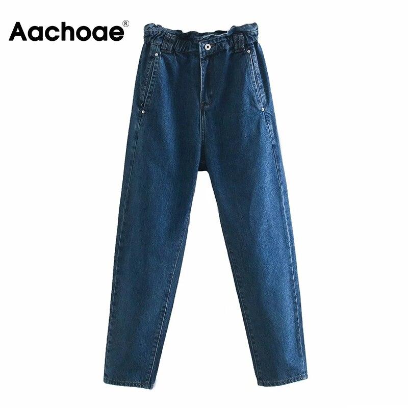 Aachoae خمر النساء ورقة السراويل مرونة الخصر سيدة عادية سراويلي حريمي الصلبة طويلة طول السراويل الإناث بنطلونات Mujer 2021