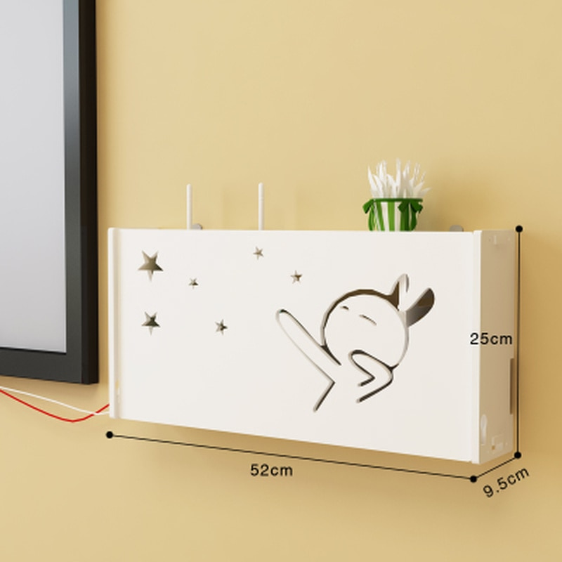 Enrutador de caja de almacenamiento de punzón gratis para sala de estar, reproductor wifi inalámbrico de una sola capa, decodificador, estante de pared montado en la pared LB11286