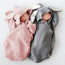 طفل أكياس النوم عربة الشتاء الدافئة طفل Infantil قماش للف الرضع الخريف الأرنب محبوك المغلفات لتصريف الوليد 0-6 متر
