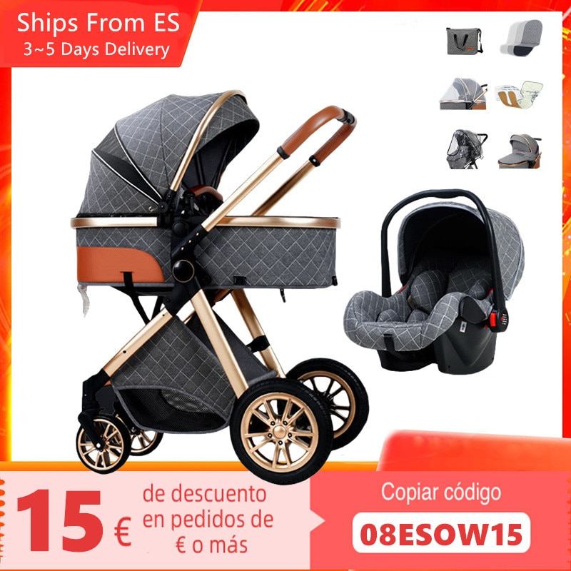 Baby Stroller 3 In 1 With Car Seat Newborn Baby Carriage High Landscape Stroller Reclining Foldable Stroller Baby Bassinet