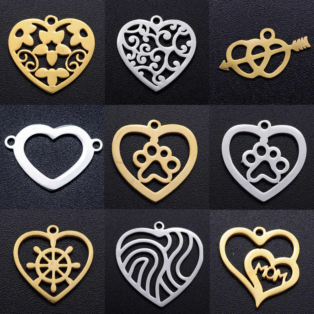 Colgante De Acero Inoxidable Con Forma De Corazón Para Mujer 5 Unidades Por Lote Fabricación De Joyas Diy Collar Con Colgante De Flor Pata De Perro Pulsera Amuletos Aliexpress