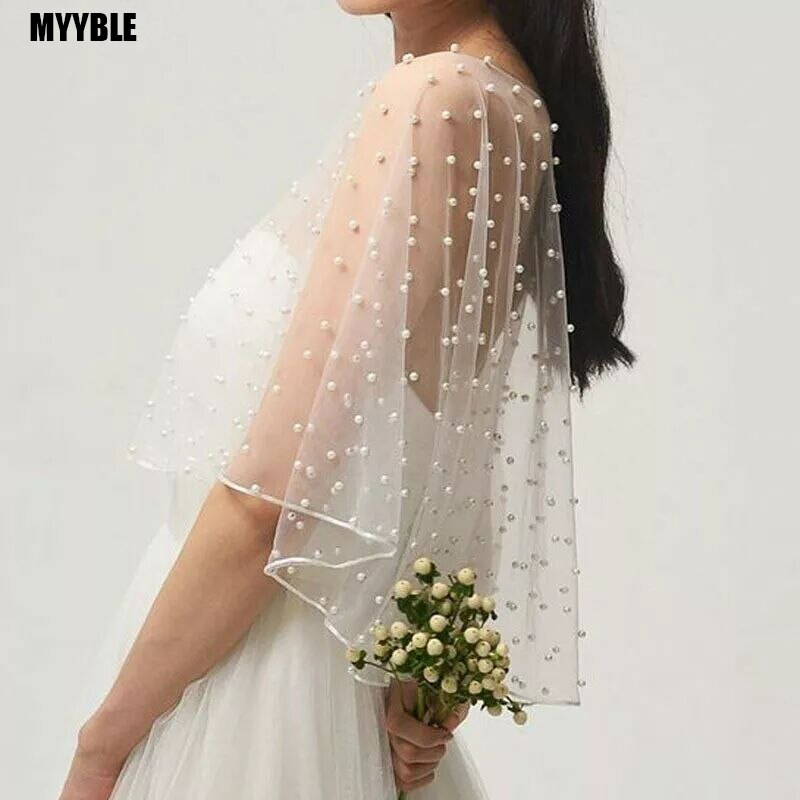 2020 MYYBLE Wedding Accessories Bolero Bridal Cloak Pearls Wedding Cape short front long back Women Wrap Cape Evening Wrap Shawl