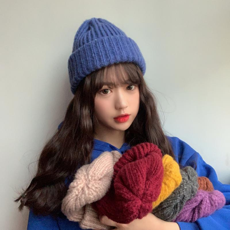 Женская Осенняя Шерстяная Вязаная Шапка-бини, Шапка-бини с манжетами, шапка для часов для девочек, Весенняя модель для женщин