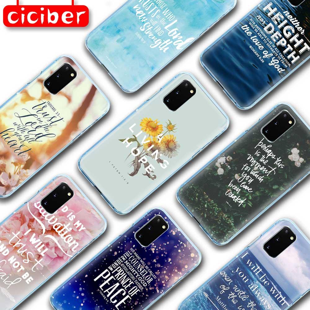 Biblia Cristiana TPU caso para Samsung Galaxy S10 S9 S8 S7 S20 Plus Ultra S10e A50 A51 A71 A70 A20E A10 A40 Nota 10 9 8 Plus