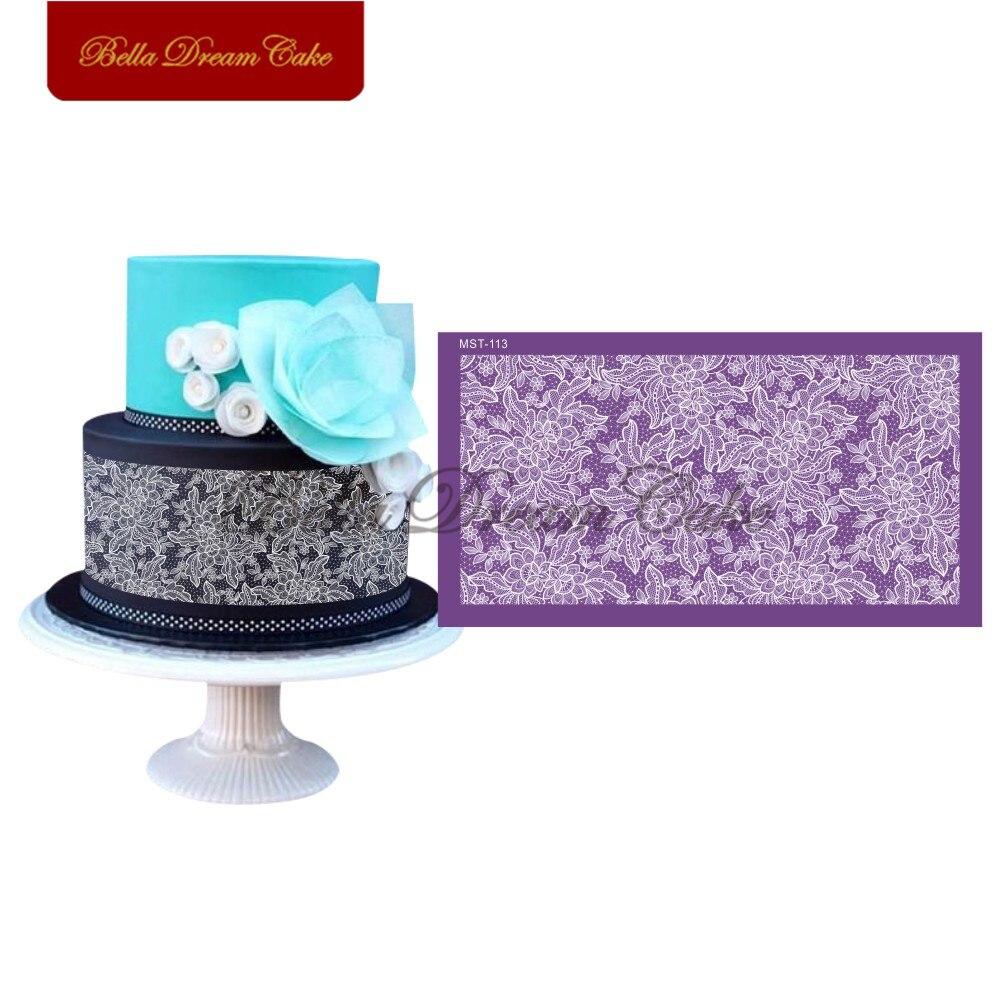 Plantilla para torta de boda con diseño de encaje floral de peonía, molde de Fondant para tarta, molde de borde para tarta, herramienta de decoración de pasteles, utensilios para hornear