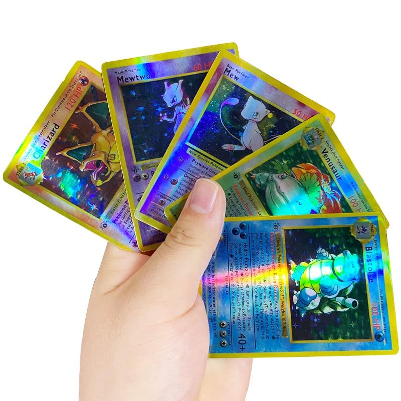 pokemon team up game card pokemon english flash card battle card child game cards english flash cards educational toys 5PCS Charizard Mewtwo Pokemon Cards First Edition English Version Flash Card First Generation Pokemon Game Collection Cards Gift