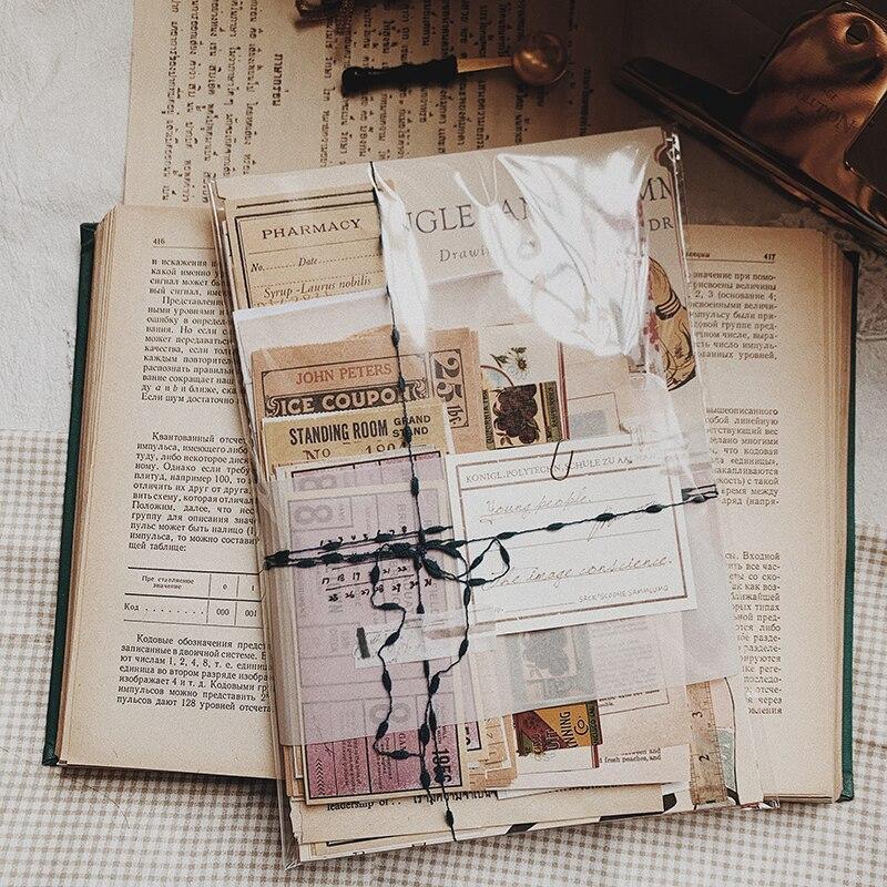 180+ PCS Vintage Travel Ticket Old Books Decorative Memo Diary Planner Scrapbooking Material Label  Journal Stickers Stationery
