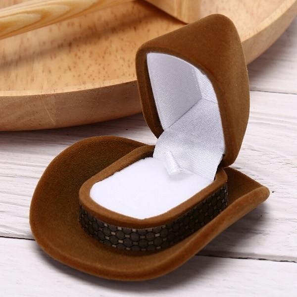 1 x bijoux accessoires Cowboy chapeau emballage bijoux boîte anneau collier boîte (whithout anneau collier)