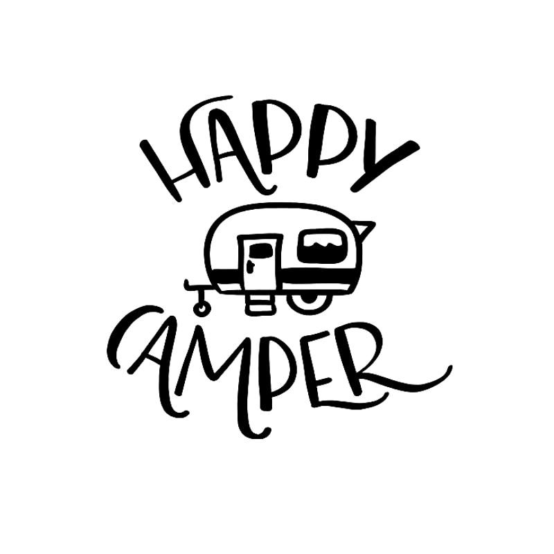 16*15.8CM Cartoon Happy Camper Vinyl Waterproof Sticker Black/Silver Car Window Tail Decal DIY Decor for Subaru Mitsubishi Ford