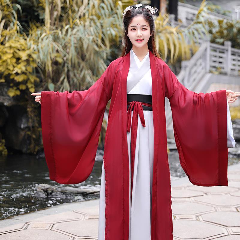 4 Uds Hanfu chino tradicional vestido Tang traje Tops y falda chaqueta rojo trajes para las mujeres los hombres Kimono Cosplay de la Dinastía Han traje