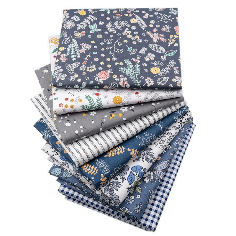 8Pcs 25*25cm Floral Dot Print Cloth DIY Sewing Patchwork Cotton Fabric For Diy Doll Dress Clothes Handmade Material Textile