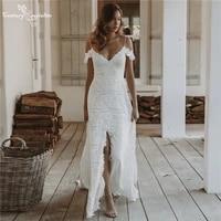 beach wedding gowns 2021 boho bride dress with slit spaghetti straps backless off shoulder bohemian bride gowns vestido de noiva