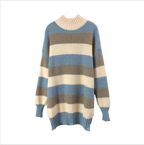 Женский Повседневный свободный свитер в полоску