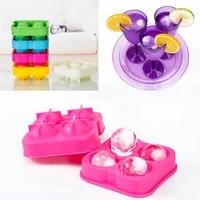 mini 4 cavity ice maker cube silicone tray mold whiskey ice cube ice ball maker tray mold