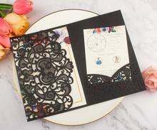 Free Drop Shipping Sample 1pcs black Laser Cut tri-fold Wedding Invitation Cards Kit Personalized Pocket Invite Customized RSVP