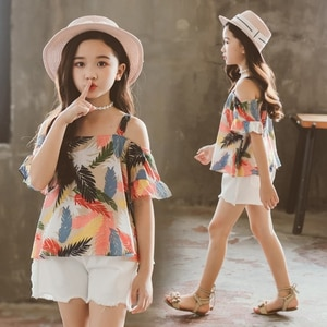 Girls Clothing Set Print Sling Shirt Top+Denim Shorts 2 Pcs Girls Summer Clothes Teen Clothing Kids Children Clothes 3-12 Yrs