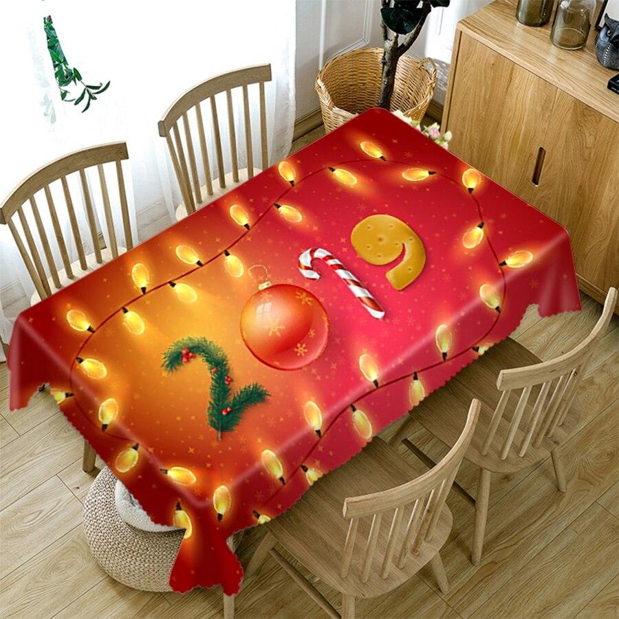 Mantel de Navidad 3D fondo rojo flor bola dorada y árbol patrón Rectangular/redondo mantel para fiesta de Picnic de boda