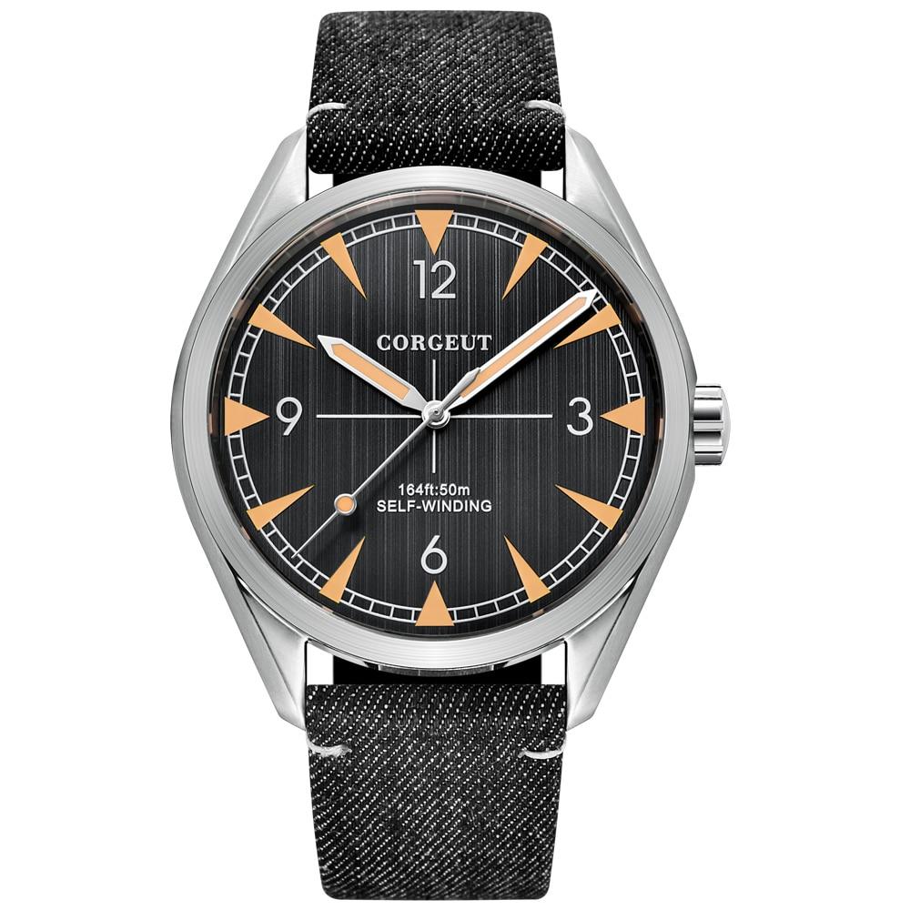 Corgeut 41 мм Miyota автоматические механические часы для мужчин бизнес люксовый бренд кожаный ремешок светящиеся водонепроницаемые наручные час...