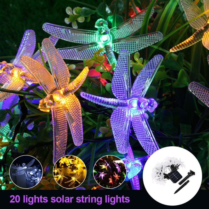 Solar Christmas Lights 20 LED Dragonfly Solar String Ligh Waterproof Outdoor Garden Party Decoration Light For Wall Window Door
