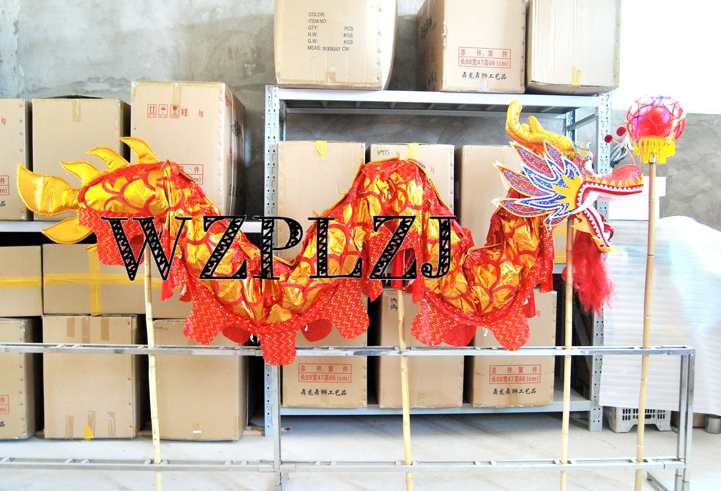 4m Golden Length Dragon Dance Costume 4 Players  Children Student School Halloween Party Performance Parade Folk Stage  China