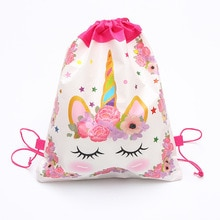 1-40pcs Unicorn Theme Children Portable Drawstring Bag School Bag Travel Cotton Pouch Unicorn Handba