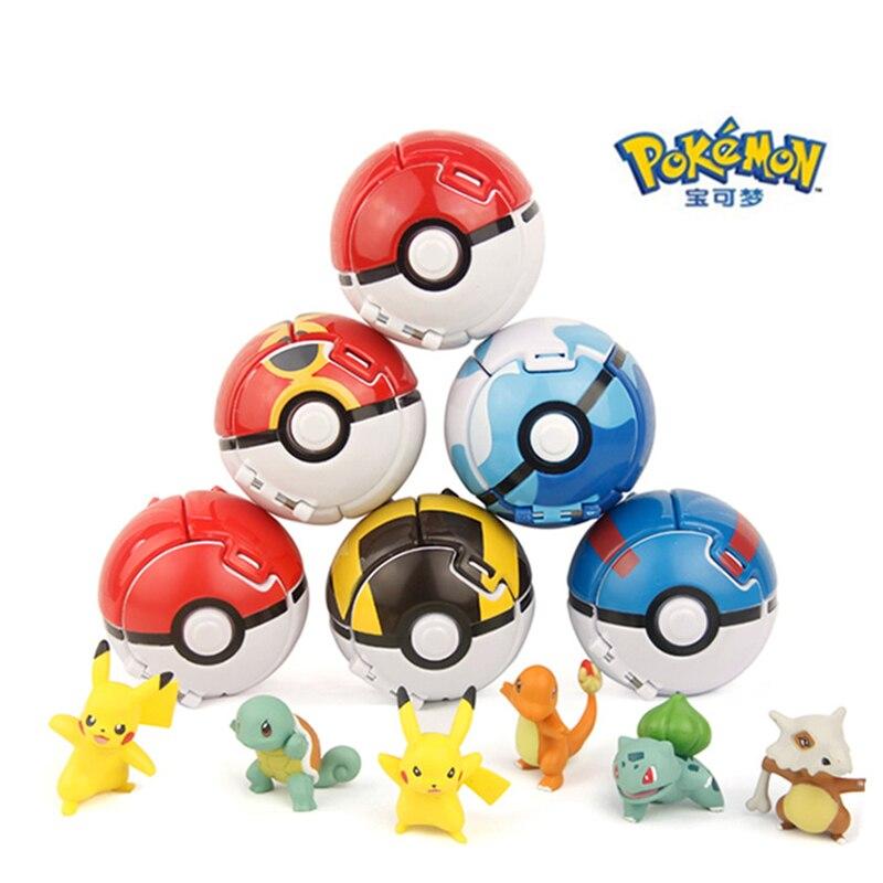 Juguetes TAKARA TOMY modelo 7CM Pokemon elfo bola pokebola de Pikachu juguete de dibujos animados con Pikachu MODELO DE figura de acción juguetes educativos regalo
