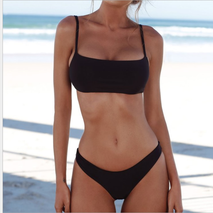 New solid color sexy bikini two-piece swimsuit womens fashion plus size suit women