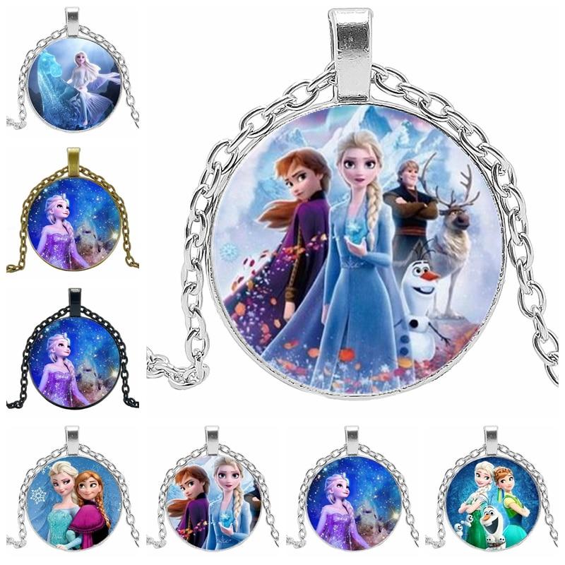 2020 Детская Подвеска, 3 цвета, Женские Ювелирные изделия, ожерелье, круглая Принцесса Эльза, Анна, Снежная королева, ручная работа, свитер, цепочка для девочек