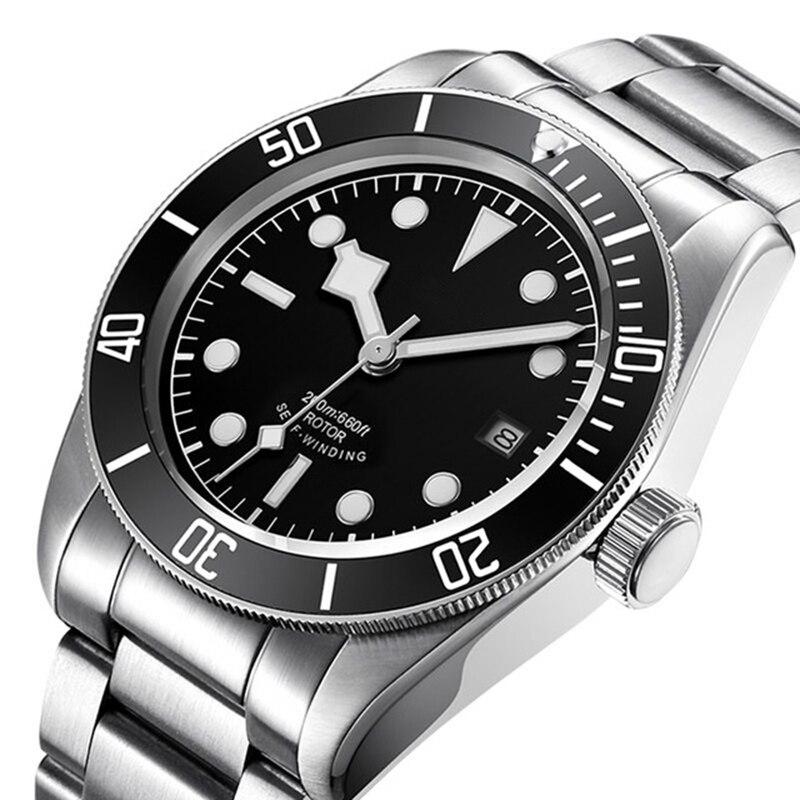Corgeut 41mm marque de luxe hommes montre en acier inoxydable plongeur montre Sport lumineux étanche mâle automatique mécanique montre-bracelet