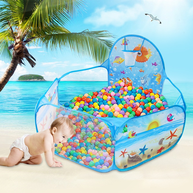 Ocean Series Cartoon Tent Kids Ball Pit Baby Play Tent, Ball Pit Pool with Basketball Hoop,Foldable, Kids, Outdoor Sports toys tent for kids tunnel ball pool pits ocean series cartoon game portable foldable outdoor sports toys with basket children