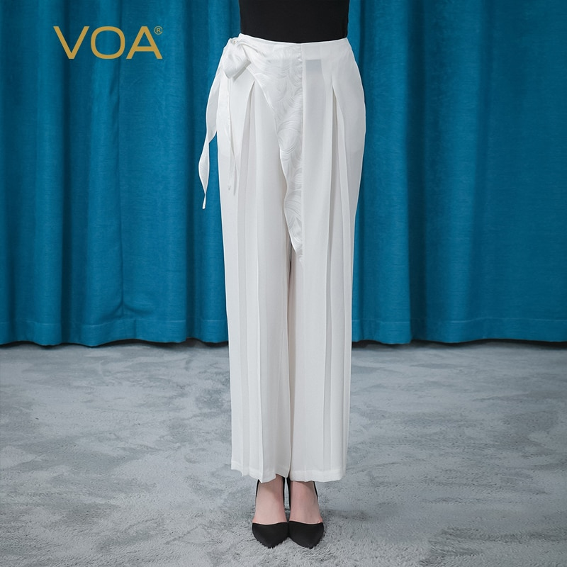 VOA 30m/m Silk Heavy Cream Asymmetrical Jacquard Three-dimensional Decorative Fold Loose Literary Wide-leg Pants In Summer KE387