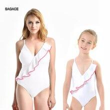 AGACE Solid Mom&Me Onepiece Swimsuit Women Sexy Swimwear Lady Summer Push-Up Ruffles Swimsuit Beachwear Parent-child BodysuitA39
