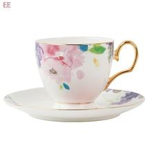 Vintage os chine expresso tasses porcelaine tasse à thé rétro réutilisable blanc en céramique tasses à café de luxe soucoupes ensemble décor à la maison E5