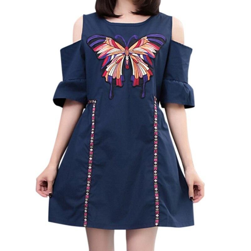 Verão novo elegante temperamento em torno do pescoço strapless bordado borboleta era fino estilo étnico retro vestido