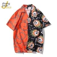 hot sale men shirt mens printed short sleeved shirt lapel casual comfortable shirt tee top