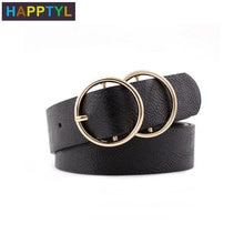 HAPPTYL 1Pcs Fashion Women PU Leather Belt for Jeans Pants with Dual Metal Round Rings Ladies Leathe