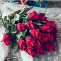 1pc 45cm rose artificial flowers vivid real touch silk fake flower bride holding flower home party decor valentines day gift