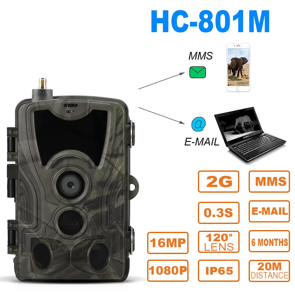 SUNTEKCAM  Hunting Camera Trail Camera SMS/MMS/SMTP 2G 16MP 1080P HC-801M Photo Traps 0.3s Trigger Time Trap Wildlife недорого