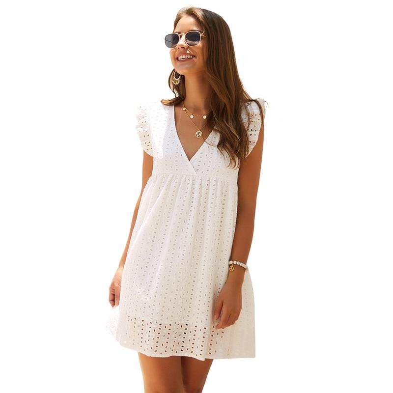 SKTSUUC, повседневное Кружевное белое платье, бохо, v-образный вырез, без рукавов, до колена, свободное, хлопок, на крючках, с цветами, полое, женское летнее платье, желтое, синее