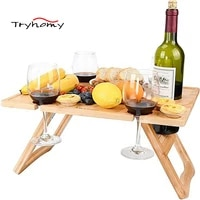 outdoor portable wooden wine table with glass rack fordable travel mini fruit desk folding camping picnic table 2021 new