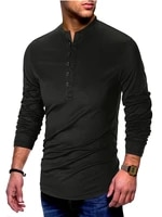 mens clothing oversize product fashion casual multi button stand collar long sleeved t shirt comfortable bottoming t shirt