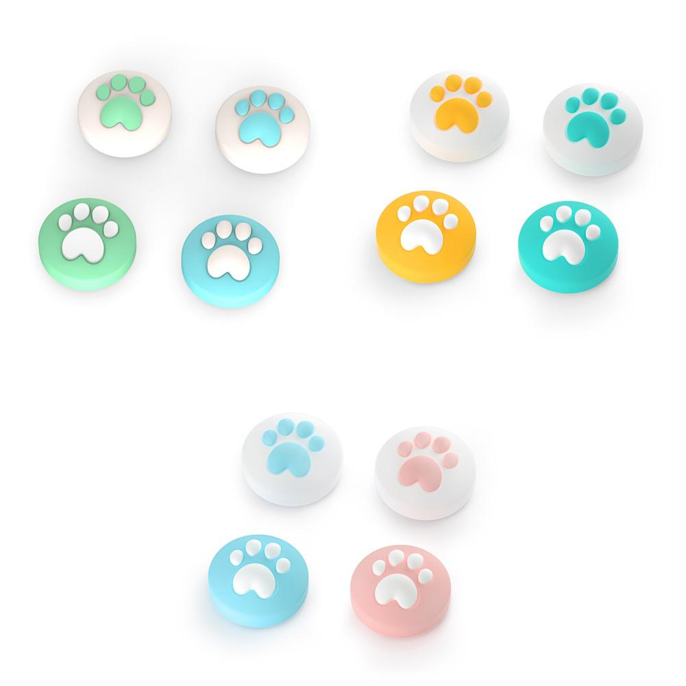 4 pçs bonito gato garra polegar vara silicone aperto tampa joystick capa para nintendo switch lite joy-con controlador thumbstick caso