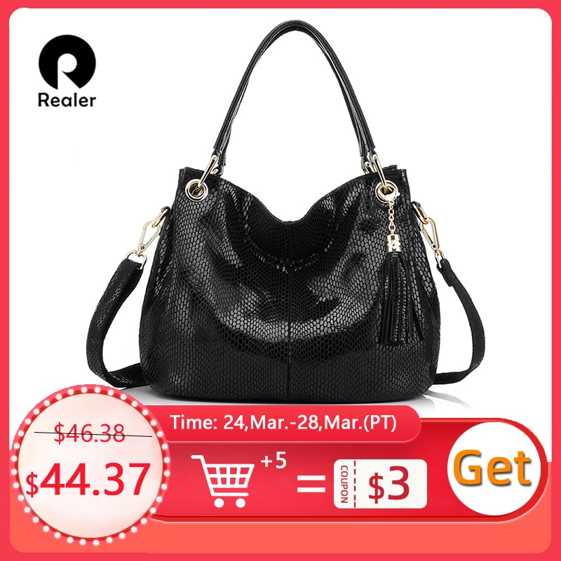 Realer woman handbags genuine leather bag female hobos shoulder crossbody bags high quality leather totes women messenger bags